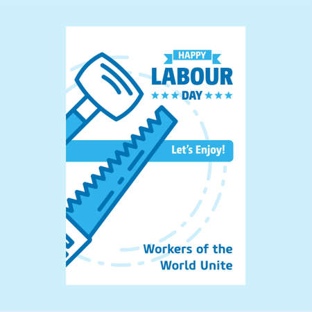 Happy Labour day design with white and blue theme vector with constructions tools logo vector. For web design and application interface, also useful for infographics. Vector illustration.