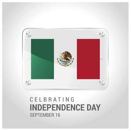 Mexico Flag Door Plat with lettering Celebrating Independence Day. For web design and application interface, also useful for infographics. Vector illustration.