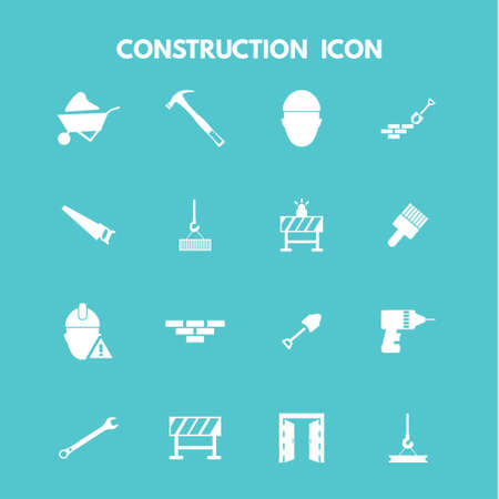 Construction Icons. For web design and application interface, also useful for infographics. Vector illustration.