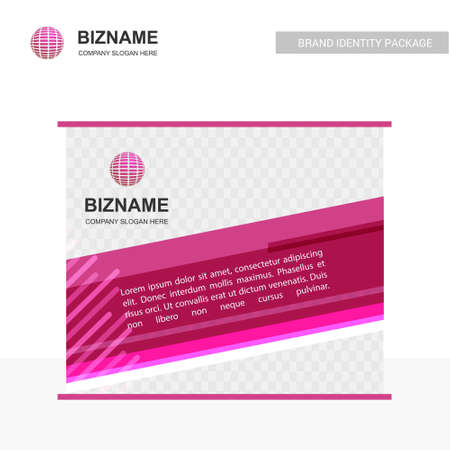Business banner design with pink theme and world logo vector. For web design and application interface, also useful for infographics. Vector illustration.