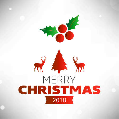 Christmas greetings card with light background christmas cherrie,tree,dear and simple typography.. For web design and application interface, also useful for infographics. Vector illustration.