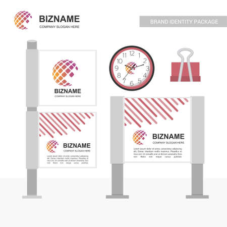 Company advertisment banner with world map logo and slogan vector and stationary. For web design and application interface, also useful for infographics. Vector illustration.