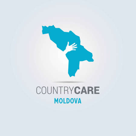 Illustration of an isolated hands offering sign with the map of Moldova. For web design and application interface, also useful for infographics. Vector illustration.