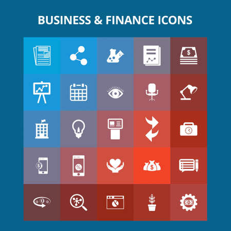 Business and Finance Icons. For web design and application interface, also useful for infographics. Vector illustration.