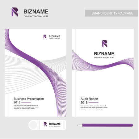 Company Brochureswith unique design included purple theme also with pencil and eraser vector with R logo. For web design and application interface, also useful for infographics. Vector illustration.