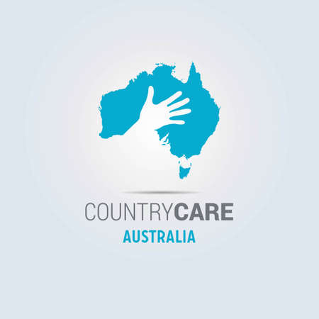 Illustration of an isolated hands offering sign with the map of Australia. For web design and application interface, also useful for infographics. Vector illustration. Çizim