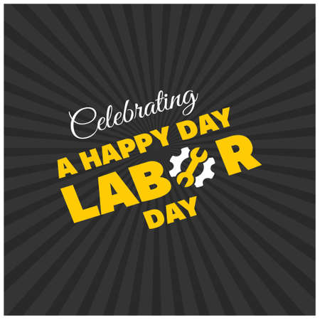 Happy Labor Day Beautiful Yellow Typography on a Black Background. For web design and application interface, also useful for infographics. Vector illustration.
