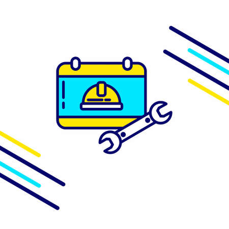 Labour day icon with light background with yellow and blue theme icon. For web design and application interface, also useful for infographics. Vector illustration.
