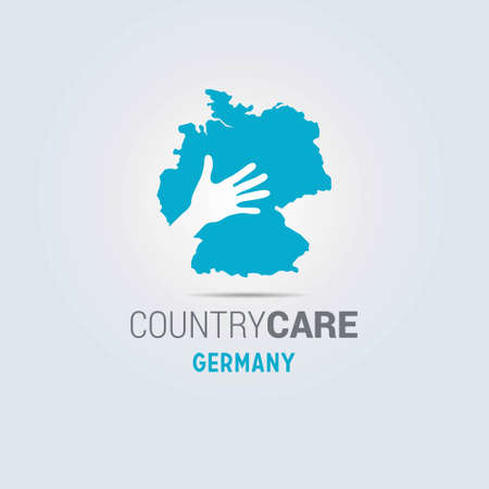 Illustration of an isolated hands offering sign with the map of Germany. For web design and application interface, also useful for infographics. Vector illustration.