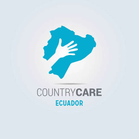 Illustration of an isolated hands offering sign with the map of Ecuador. For web design and application interface, also useful for infographics. Vector illustration.
