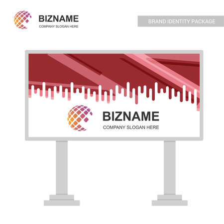 Company advertisment bill board with elegent design vector with world map logo. For web design and application interface, also useful for infographics. Vector illustration.