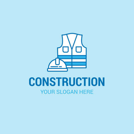 Labour day logo with light blue background vector. For web design and application interface, also useful for infographics. Vector illustration.