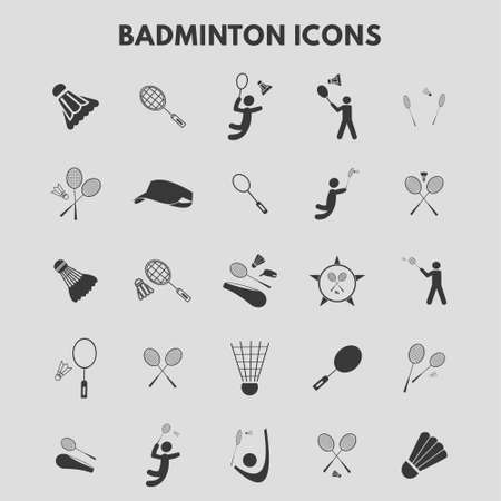 Badminton Icons. For web design and application interface, also useful for infographics. Vector illustration.
