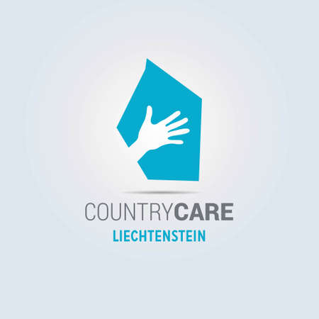 Illustration of an isolated hands offering sign with the map of Liechtenstein. For web design and application interface, also useful for infographics. Vector illustration.