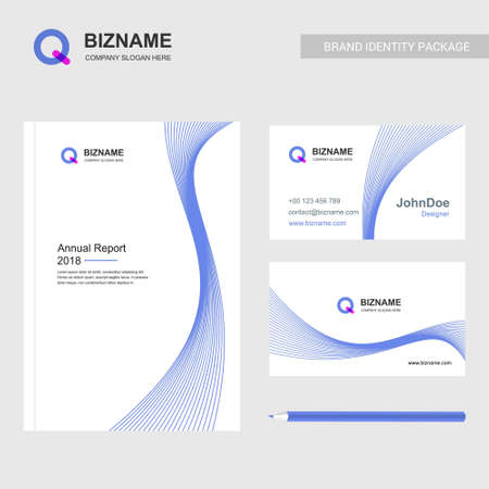 Company brochure design with blue theme and Q logo vector. For web design and application interface, also useful for infographics. Vector illustration.