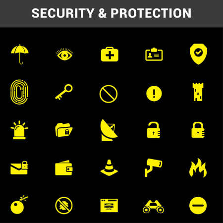 Security protection icons set vector. For web design and application interface, also useful for infographics. Vector illustration. Illustration