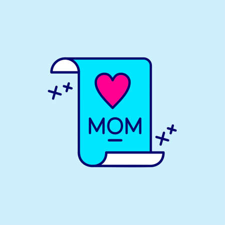 Mother's day blue and pink color icon on light blue background vector. For web design and application interface, also useful for infographics. Vector illustration.