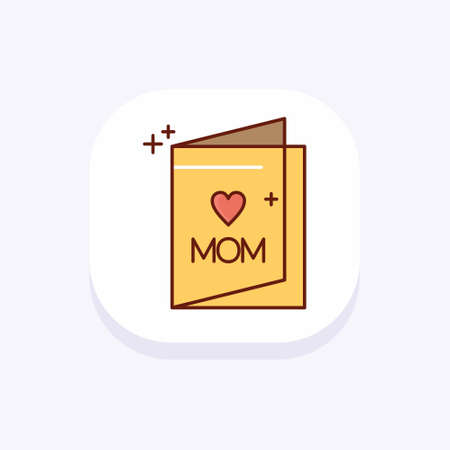 Mothers day colorful icon with light background vector. For web design and application interface, also useful for infographics. Vector illustration.
