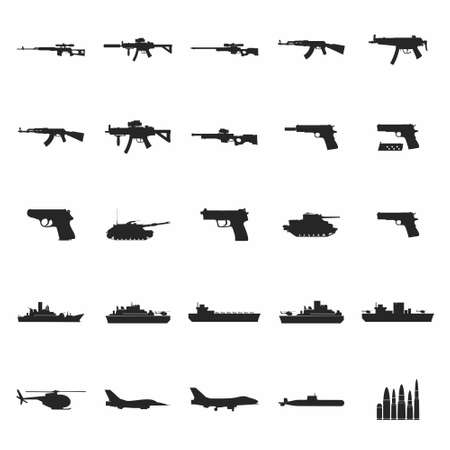 set of the military combat vehicle plane and boats. For web design and application interface, also useful for infographics. Vector illustration. Archivio Fotografico - 105286735