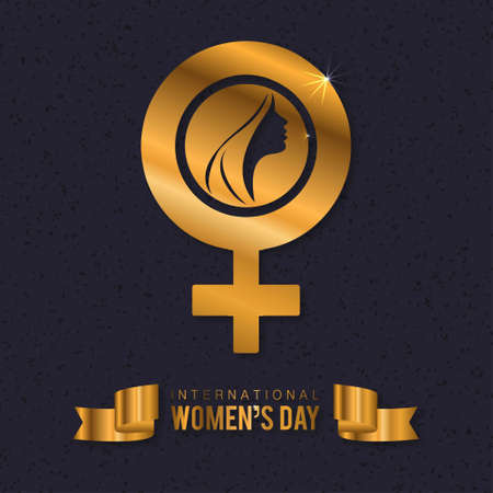 Womens day typogrpahic card with dark pattern background. For web design and application interface, also useful for infographics. Vector illustration.