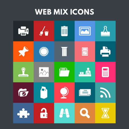 Web Mix Icons. For web design and application interface, also useful for infographics. Vector illustration.