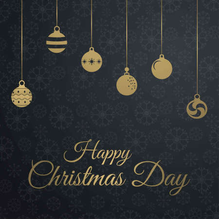 Chrismtas card with dark pattern background. For web design and application interface, also useful for infographics. Vector illustration.