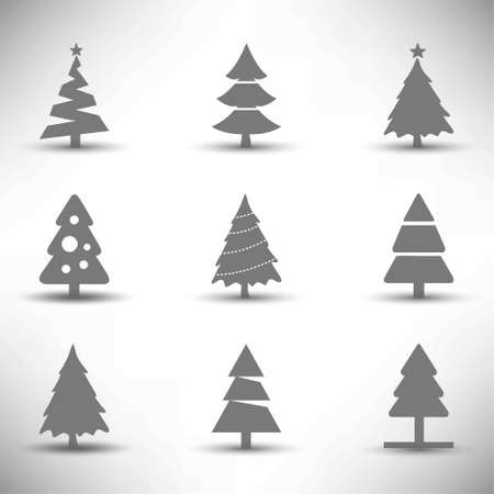Christmas tree icons set. For web design and application interface, also useful for infographics. Vector illustration. 矢量图像