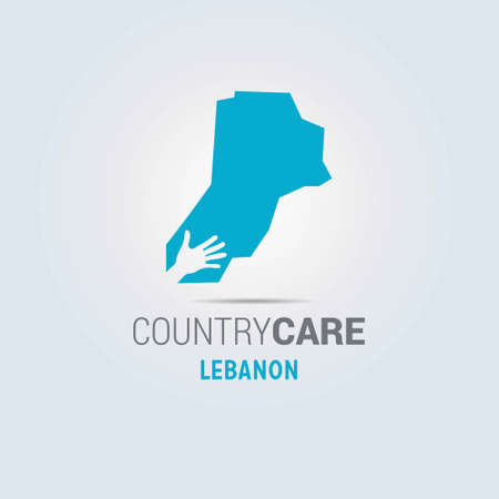 Illustration of an isolated hands offering sign with the map of Lebanon. For web design and application interface, also useful for infographics. Vector illustration. Illustration