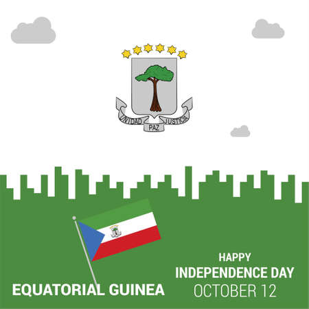 Banner or poster of Equatorial Guinea independence day celebration. Waving flag. Vector illustration.. For web design and application interface, also useful for infographics. Vector illustration. 向量圖像