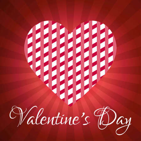 Valentine's day greetings card with red pattern background. For web design and application interface, also useful for infographics. Vector illustration.