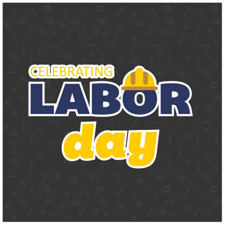 Happy Labor Day Beautiful Yellow and Blue Typography on a Black Background. For web design and application interface, also useful for infographics. Vector illustration.