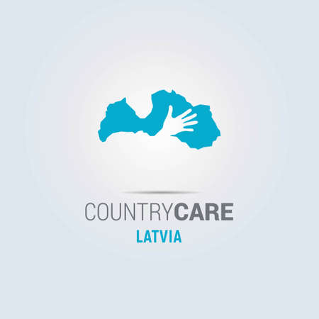 Illustration of an isolated hands offering sign with the map of Latvia. For web design and application interface, also useful for infographics. Vector illustration.