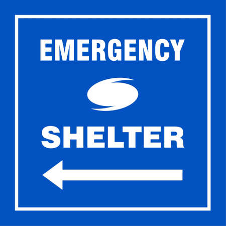 Emergency Shelter Left Safety Side Sign Board, Hurricane indication. Graphic banner of hurricane warning. Icon, sign, symbol, indication of the hurricane, vortex, tornado. For web design and application interface, also useful for infographics. Vector illustration.