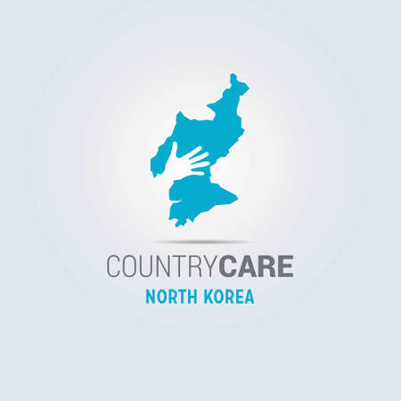 Illustration of an isolated hands offering sign with the map of North Korea. For web design and application interface, also useful for infographics. Vector illustration.
