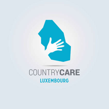 Illustration of an isolated hands offering sign with the map of Luxembourg. For web design and application interface, also useful for infographics. Vector illustration.