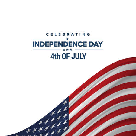 Independence day background and badge logo with US flag. For web design and application interface, also useful for infographics. Vector illustration. Illustration