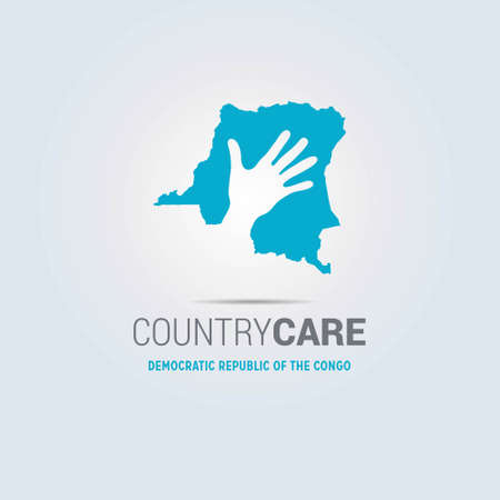 Illustration of an isolated hands offering sign with the map of Democratic Republic of the Congo. For web design and application interface, also useful for infographics. Vector illustration. Stock Illustratie