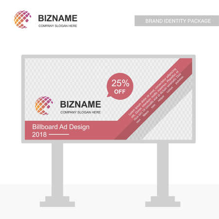 Company advertisment banner with world map logo and slogan vector. For web design and application interface, also useful for infographics. Vector illustration.
