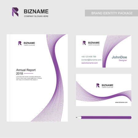 Professional brochure design and company cards design with with R logo and purple theme. For web design and application interface, also useful for infographics. Vector illustration. Logo