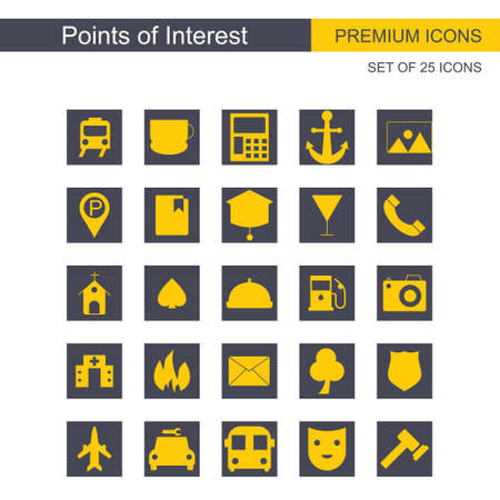 Points of intrest icons set. For web design and application interface, also useful for infographics. Vector illustration.