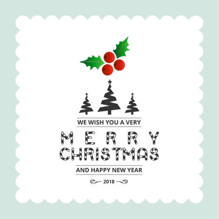 Christmas card with light background. For web design and application interface, also useful for infographics. Vector illustration.