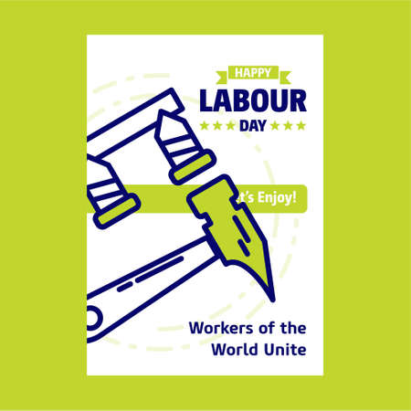 Happy Labour day design with green and blue theme vector with constructions tool logo vector. For web design and application interface, also useful for infographics. Vector illustration.