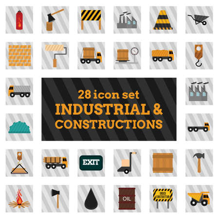 Industrial and constructions icons set. For web design and application interface, also useful for infographics. Vector illustration.