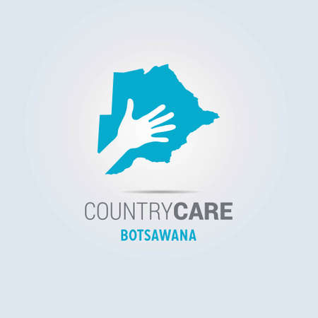 Illustration of an isolated hands offering sign with the map of Botswana. For web design and application interface, also useful for infographics. Vector illustration.