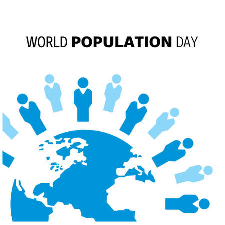 Vector illustration,banner or poster of world population day. Globe circled with people. Blue Globe. White Background.. For web design and application interface, also useful for infographics. Vector illustration.