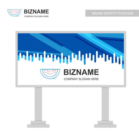 Company bill board design with blue theme vector with water melon logo. For web design and application interface, also useful for infographics. Vector illustration.