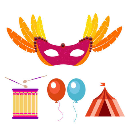 Happy Brazilian Carnival Day. Carnival mask, drum, balloons and camp. For web design and application interface, also useful for infographics. Vector illustration.