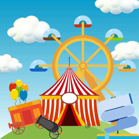 Happy Brazilian Carnival Day. Beautiful Circus scene with circus elements. For web design and application interface, also useful for infographics. Vector illustration.