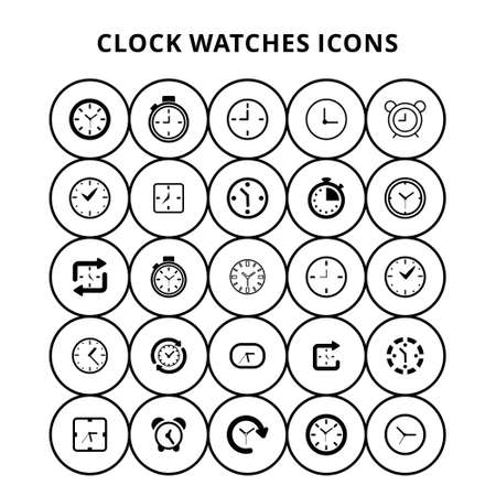 Clock Watches Icons. For web design and application interface, also useful for infographics. Vector illustration. Ilustración de vector