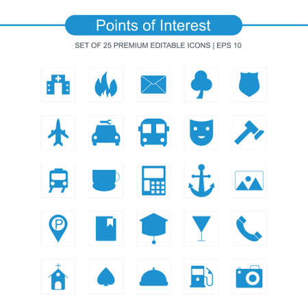 Point of interest icons set. For web design and application interface, also useful for infographics. Vector illustration.